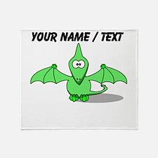 Custom Green Pterodactyl Cartoon Throw Blanket