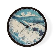 Vintage Waves Japanese Woodcut Ocean Wall Clock
