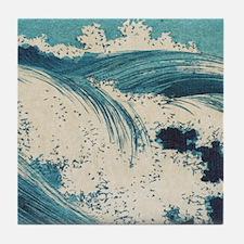 Vintage Waves Japanese Woodcut Ocean Tile Coaster