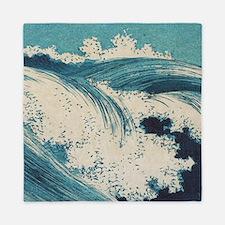 Vintage Waves Japanese Woodcut Ocean Queen Duvet