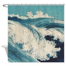 Vintage Waves Japanese Woodcut Ocean Shower Curtai