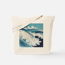 Vintage Waves Japanese Woodcut Ocean Tote Bag