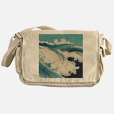 Vintage Waves Japanese Woodcut Ocean Messenger Bag