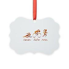 Swim Bike Run (Gold Girl) Ornament