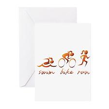 Swim Bike Run (Gold Girl) Greeting Cards (Pk of 20
