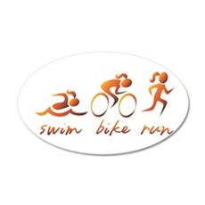 Swim Bike Run (Gold Girl) Wall Decal