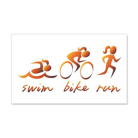 Swim Bike Run (Gold Girl) 20x12 Wall Decal