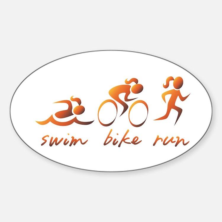Swim Bike Run (Gold Girl) Decal