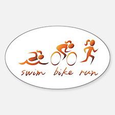 Swim Bike Run (Gold Girl) Sticker (Oval)