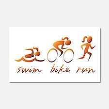 Swim Bike Run (Gold Girl) Car Magnet 20 x 12
