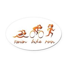Swim Bike Run (Gold Girl) Oval Car Magnet