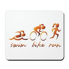 Swim Bike Run (Gold Girl) Mousepad