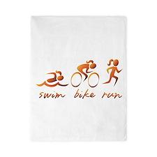 Swim Bike Run (Gold Girl) Twin Duvet