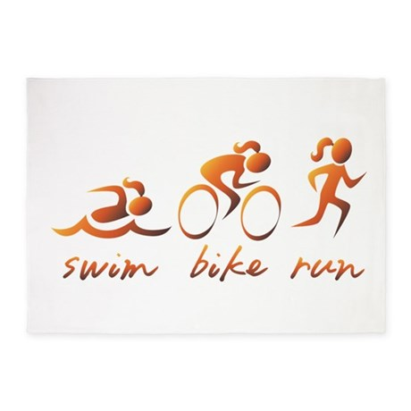 Swim Bike Run (Gold Girl) 5'x7'Area Rug