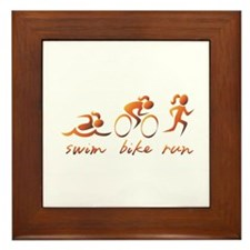 Swim Bike Run (Gold Girl) Framed Tile