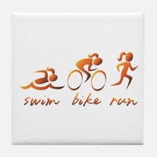 Swim Bike Run (Gold Girl) Tile Coaster