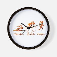 Swim Bike Run (Gold Girl) Wall Clock