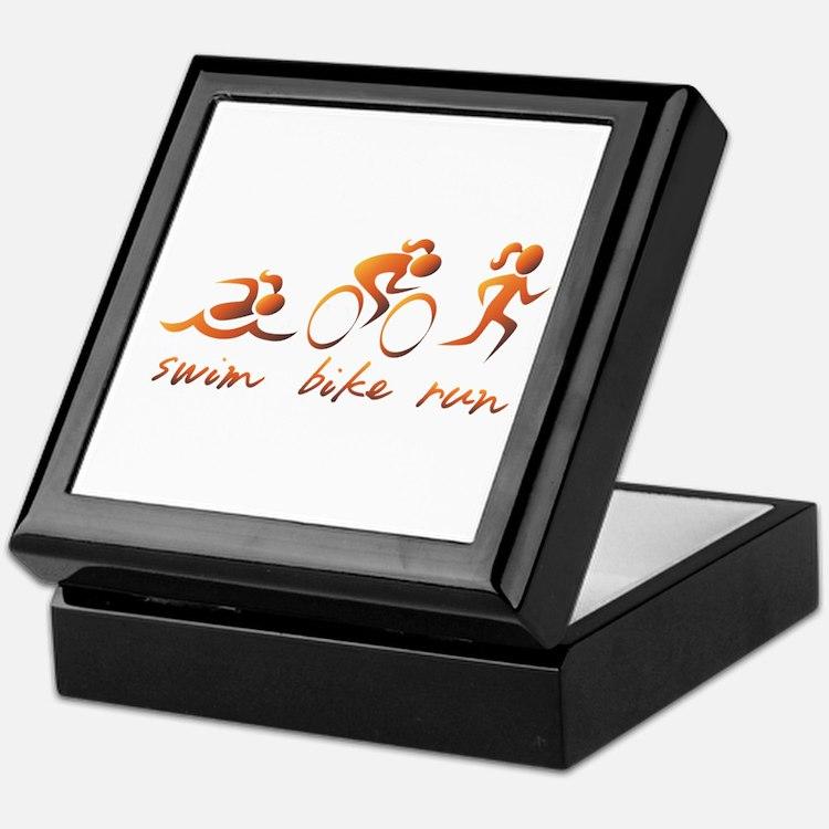 Swim Bike Run (Gold Girl) Keepsake Box