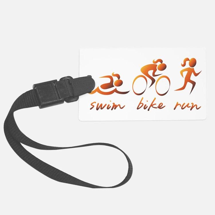 Swim Bike Run (Gold Girl) Luggage Tag
