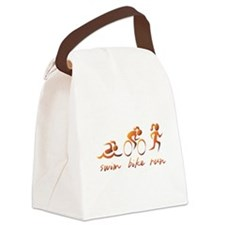 Swim Bike Run (Gold Girl) Canvas Lunch Bag