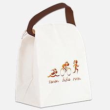 Swim Bike Run (Gold Girl) Canvas Lunch Bag