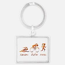 Swim Bike Run (Gold Girl) Landscape Keychain
