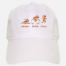 Swim Bike Run (Gold Girl) Baseball Baseball Cap