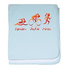 Swim Bike Run (Gold Girl) baby blanket