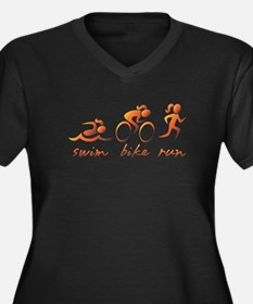 Swim Bike Run (Gold Girl) Women's Plus Size V-Neck