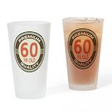 60th birthday for men Pint Glasses