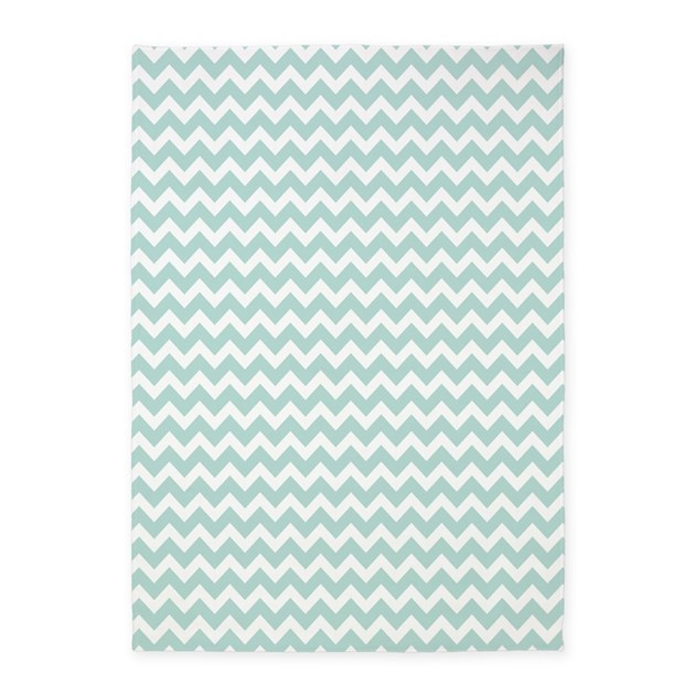 Light Teal Chevrons Zigzag Pattern 5'x7'Area Rug By
