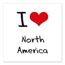 "I Love North America Square Car Magnet 3"" x 3"""