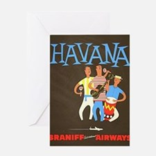 Havana, Cuba, Travel, Vintage Poster Greeting Card