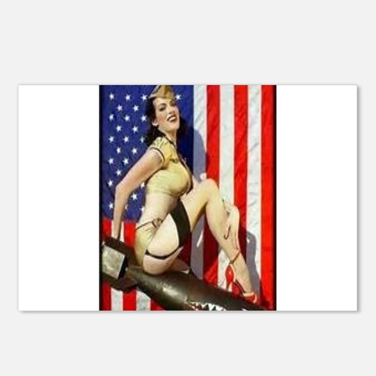 2 Military Pin Ups Postcards (Package of 8)