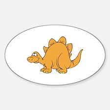 Smiling Orange Stegasaurus Oval Decal