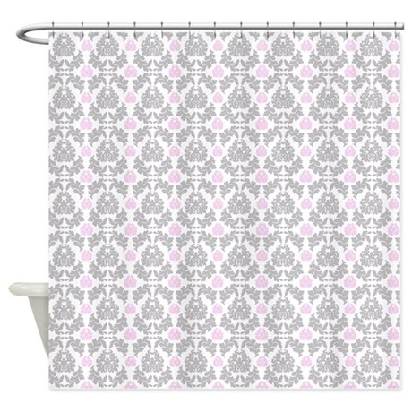 Gray Pink Damask Shower Curtain By TheHomeZone