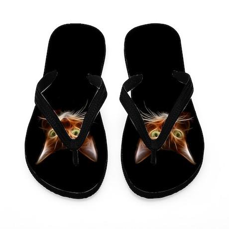 Fiery Fractal Cat Faces Flip Flops