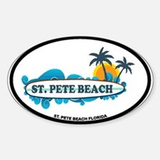 St. Pete Beach - Surf Design. Sticker (Oval)