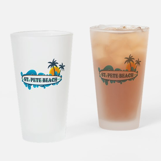 St. Pete Beach - Surf Design. Drinking Glass