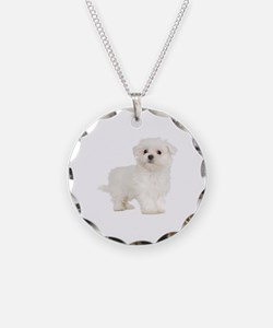 Maltese Necklace Circle Charm