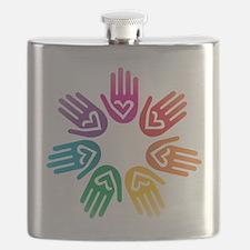 Rainbow Heart Hand Circle Flask