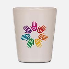Rainbow Heart Hand Circle Shot Glass