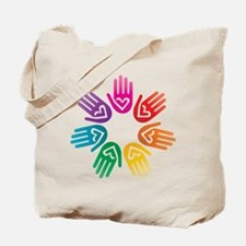 Rainbow Heart Hand Circle Tote Bag