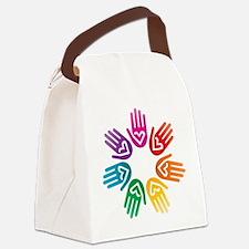 Rainbow Heart Hand Circle Canvas Lunch Bag