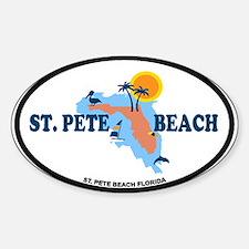 St. Pete Beach - Map Design. Sticker (Oval)
