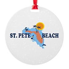 St. Pete Beach - Map Design. Round Ornament