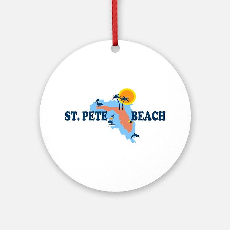 St. Pete Beach - Map Design. Ornament (Round)