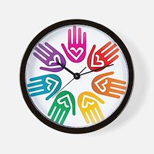Rainbow Heart Hand Circle Wall Clock