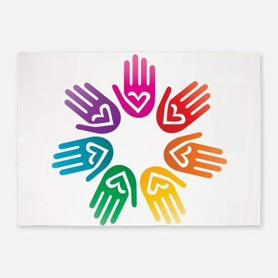 Rainbow Heart Hand Circle 5'x7'Area Rug