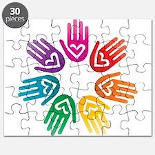Rainbow Heart Hand Circle Puzzle